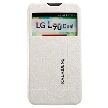LG L90 Dual D410 Kalaideng Iceland II Läpällinen Nahkakotelo Valkoinen