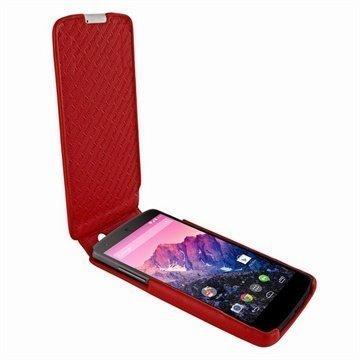 LG Nexus 5 Piel Frama Imagnum Nahkakotelo Punainen