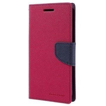 LG Nexus 5X Mercury Goospery Fancy Diary Lompakkokotelo Kuuma Pinkki / Tummansininen