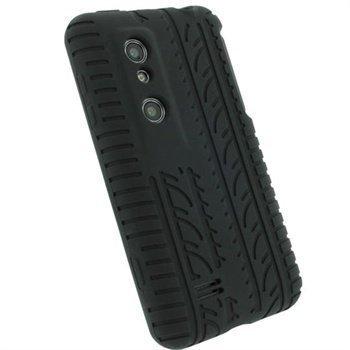 LG Optimus 3D P920 iGadgitz Tyre Tread Design Silicone Case Black
