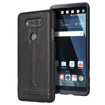 LG V20 Pierre Cardin Nahkapinnoitettu Kotelo Musta