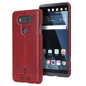 LG V20 Pierre Cardin Nahkapinnoitettu Kotelo Punainen