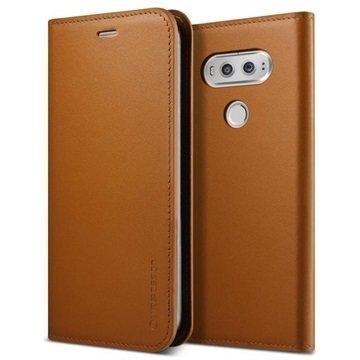 LG V20 VRS Design Diary Nahkalompakko Kotelo Ruskea