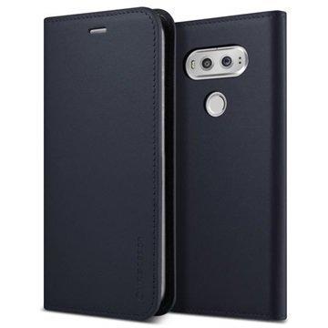 LG V20 VRS Design Diary Nahkalompakko Kotelo Tummansininen