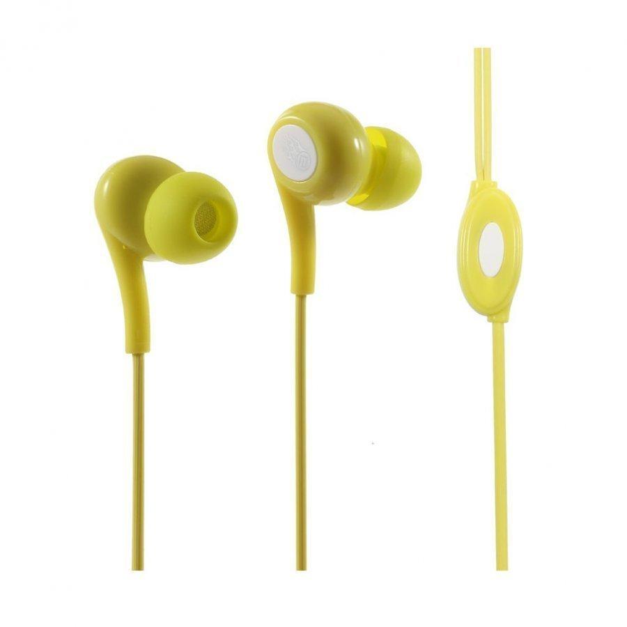 Langston Jd-91 Korvanappikuuloke Mikrofonilla Älypuhelimille Keltainen