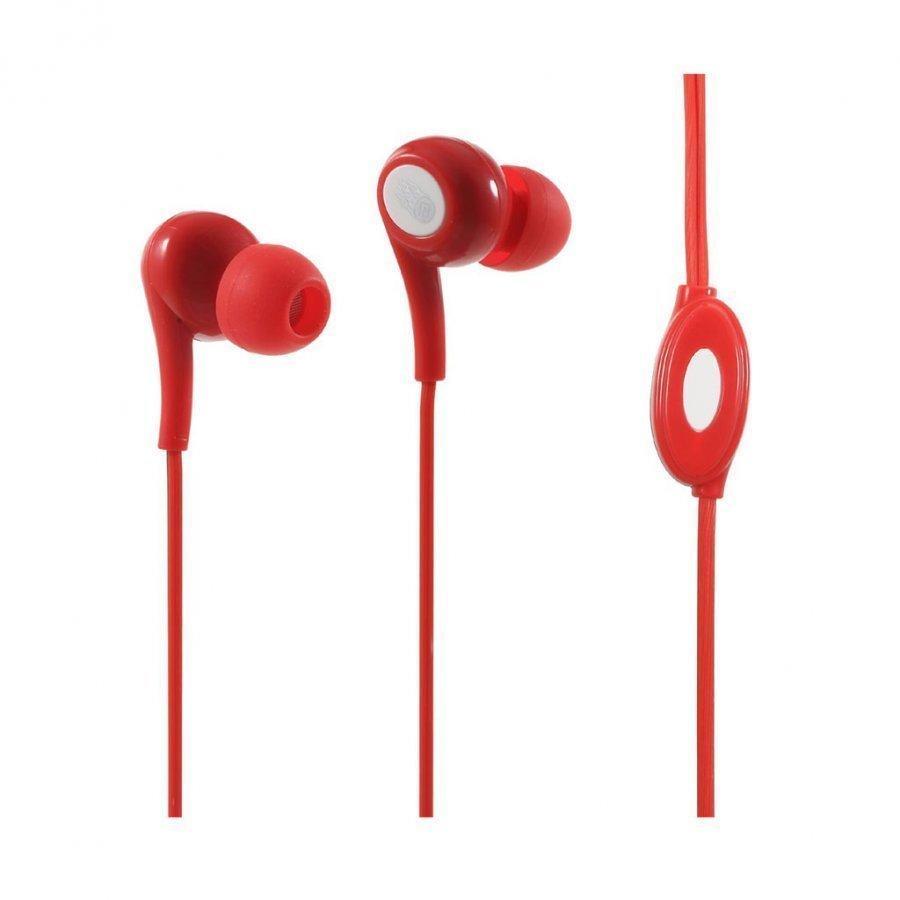 Langston Jd-91 Korvanappikuuloke Mikrofonilla Älypuhelimille Punainen