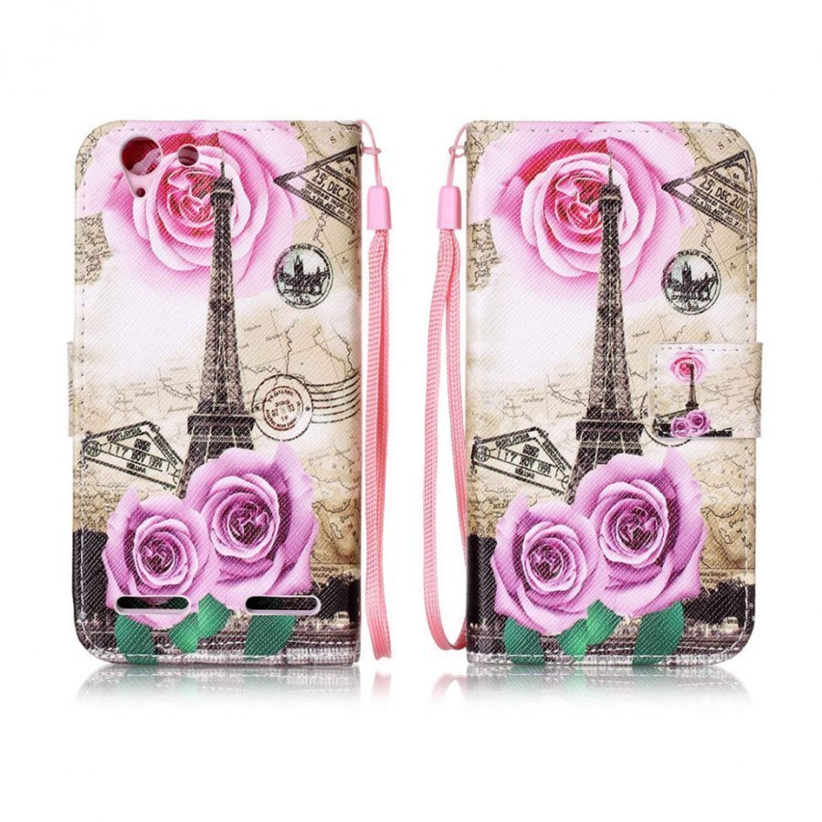 Lenovo K5 Kuvioitu Nahkakotelo Eiffel Torni Ja Ruusu