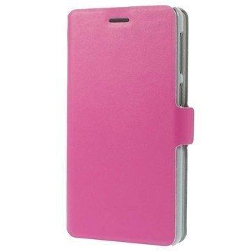 Lenovo S860 Doormoon Wallet Nahkakotelo Kuuma Pinkki