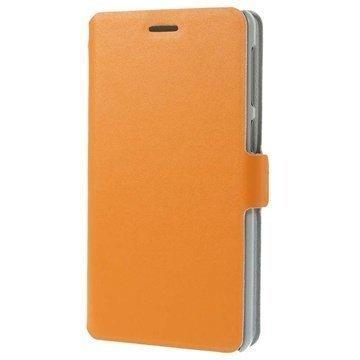 Lenovo S860 Doormoon Wallet Nahkakotelo Oranssi