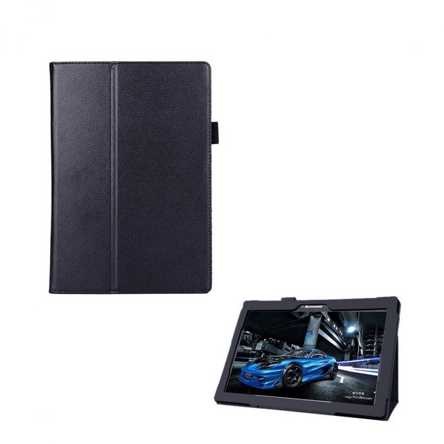 Lenovo Tab 2 A10-70 Litsi Pintainen Nahkakotelo Standillä Musta