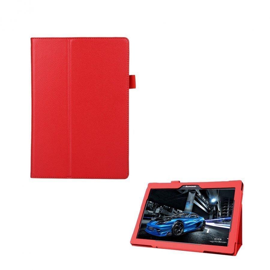 Lenovo Tab 2 A10-70 Litsi Pintainen Nahkakotelo Standillä Punainen