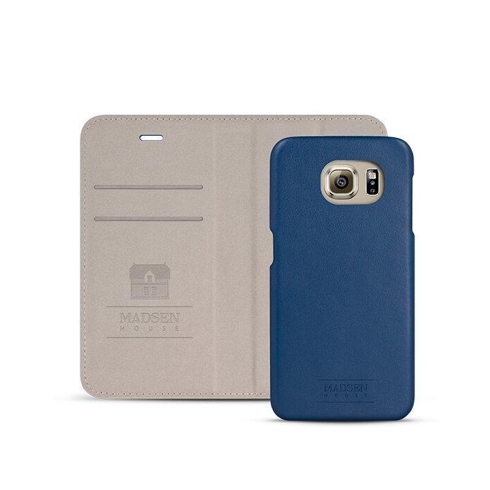 Madsen House Inge Samsung Galaxy S6 BookCase2in1 suojakotelo aitoa nahkaa + Panssarilasi Sininen