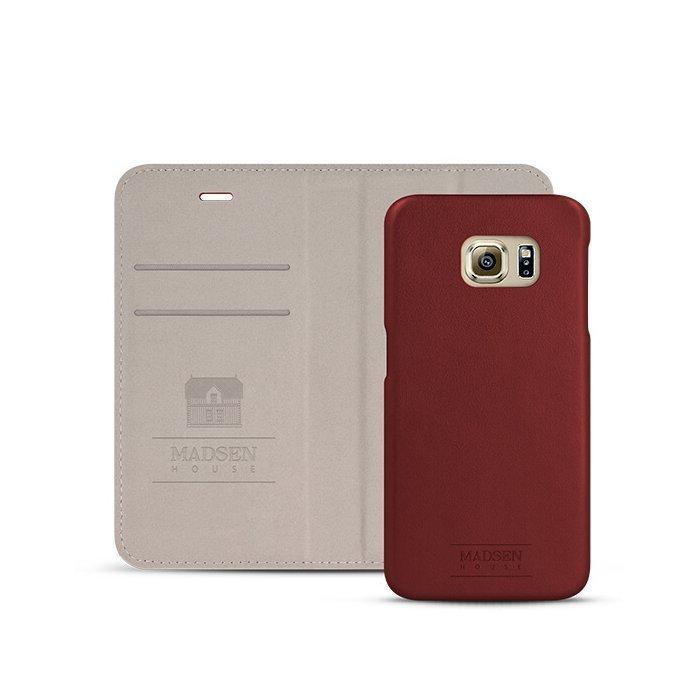 Madsen House Inge Samsung Galaxy S6 BookCase2in1 suojakotelo aitoa nahkaa + Panssarilasi Viininpunainen