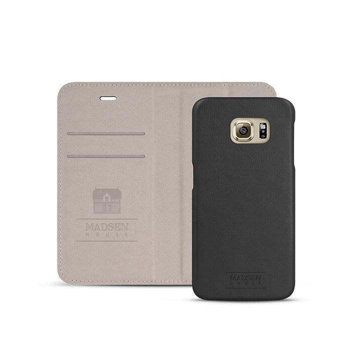 Madsen House Inge Samsung Galaxy S6 Edge BookCase2in1 suojakotelo aitoa nahkaa + Panssarilasi Musta