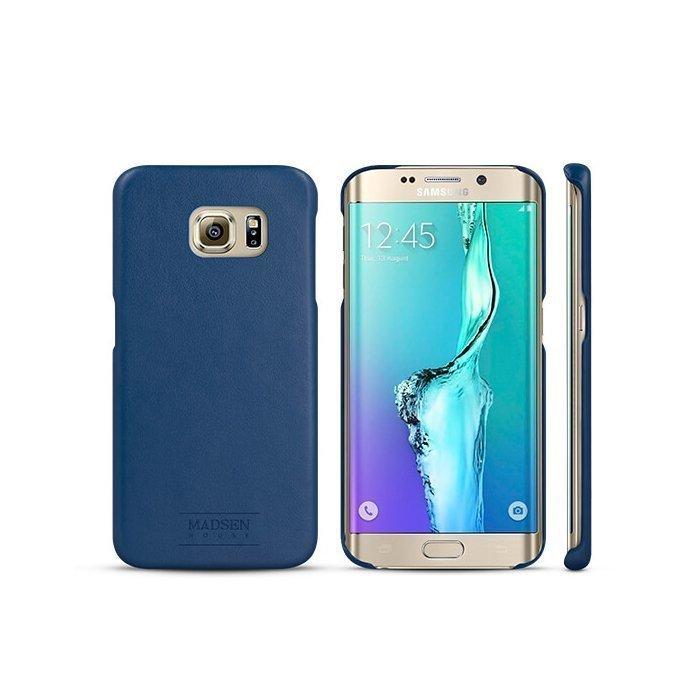 Madsen House Inge Samsung Galaxy S6 Edge BookCase2in1 suojakotelo aitoa nahkaa + Panssarilasi Sininen