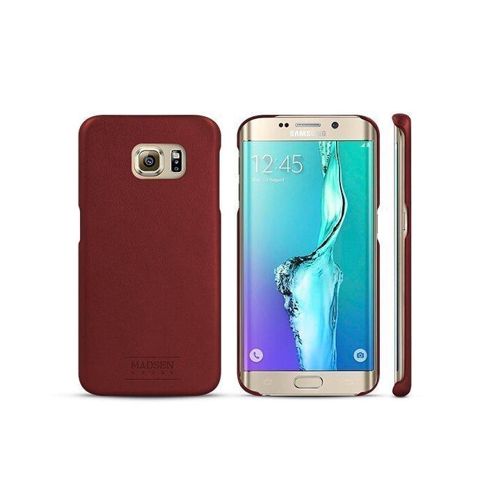 Madsen House Inge Samsung Galaxy S6 Edge BookCase2in1 suojakotelo aitoa nahkaa + Panssarilasi Viininpunainen