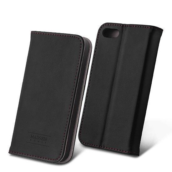 Madsen House Inge iPhone 5 / 5S Lompakkomallinen suojakotelo aitoa nahkaa + Panssarilasi Musta