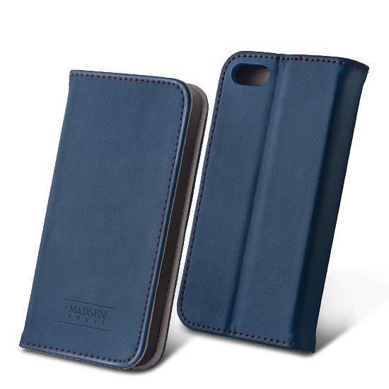 Madsen House Inge iPhone 5 / 5S Lompakkomallinen suojakotelo aitoa nahkaa + Panssarilasi Sininen