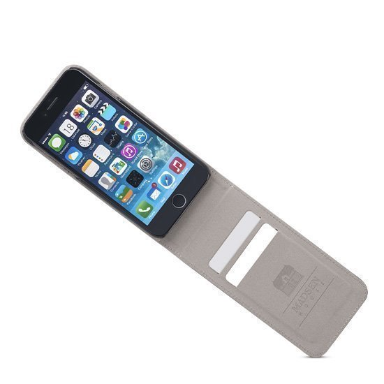 Madsen House Inge iPhone 6 / 6S FlipCase suojakotelo aitoa nahkaa + Panssarilasi Musta