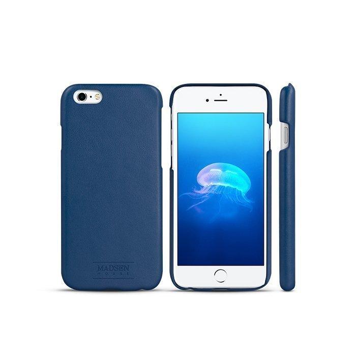 Madsen House Inge iPhone 6 Plus tai 6S Plus BookCase 2in1 suojakotelo aitoa nahkaa + Panssarilasi Sininen