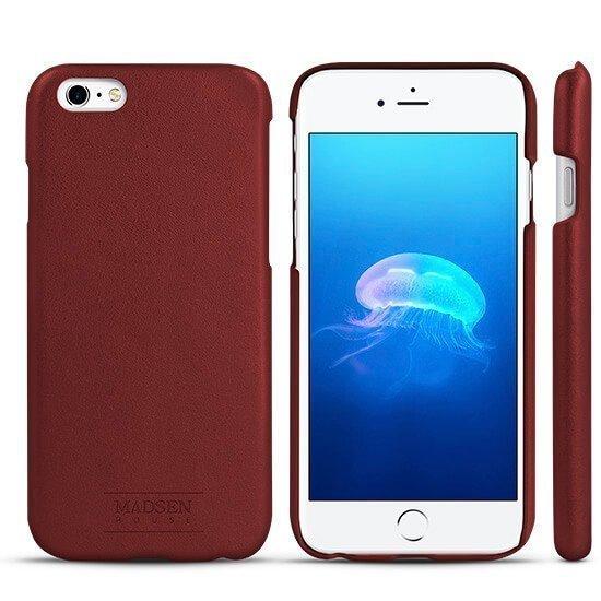 Madsen House Inge iPhone 6 Plus tai 6S Plus BookCase 2in1 suojakotelo aitoa nahkaa + Panssarilasi Viininpunainen