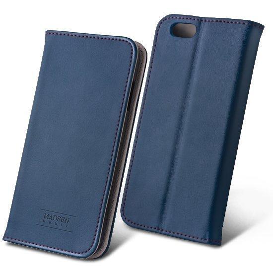 Madsen House Inge iPhone 6 ja 6S Lompakkomallinen suojakotelo aitoa nahkaa + Panssarilasi Sininen