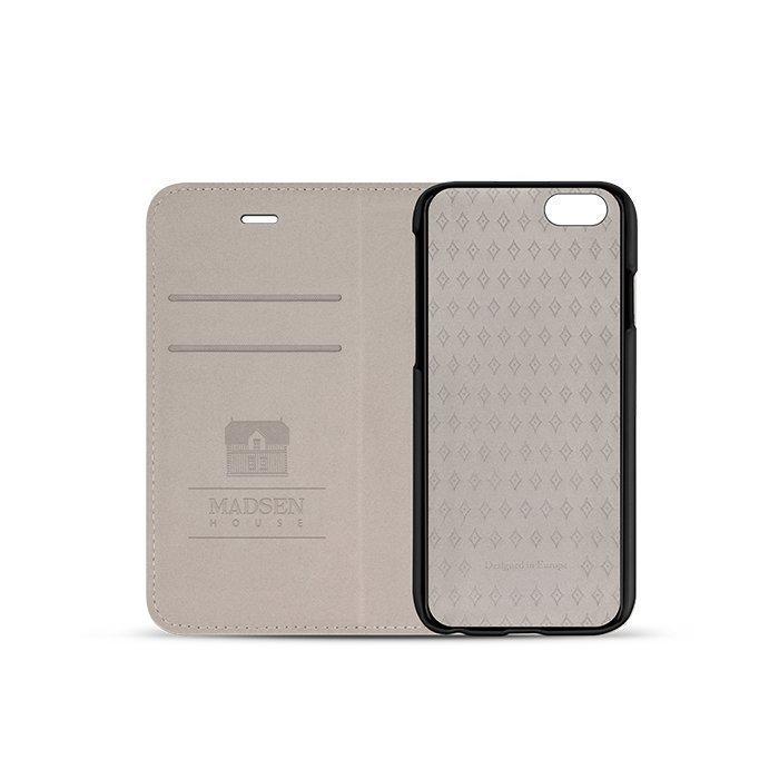 Madsen House Inge iPhone 6 tai 6S BookCase2in1 suojakotelo aitoa nahkaa + Panssarilasi Musta