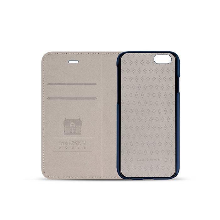 Madsen House Inge iPhone 6 tai 6S BookCase2in1 suojakotelo aitoa nahkaa + Panssarilasi Sininen