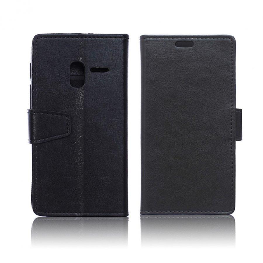 Mankell Alcatel One Touch Pixi 3 4.5 Nahkakotelo Läpällä Musta