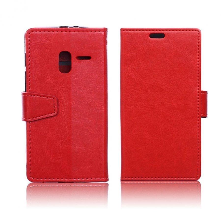Mankell Alcatel One Touch Pixi 3 4.5 Nahkakotelo Läpällä Punainen