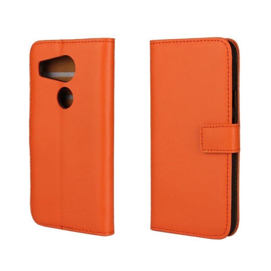 Mankell Google Nexus 5x Haljasnahka Kotelo Läpällä Oranssi