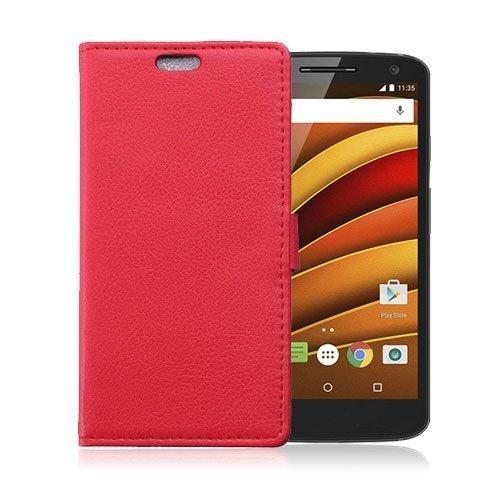 Mankell Motorola Moto X Force Nahkakotelo Lompakko Standillä Punainen
