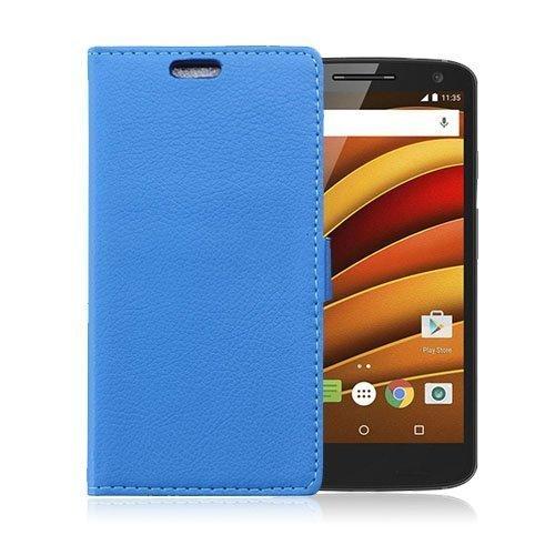 Mankell Motorola Moto X Force Nahkakotelo Lompakko Standillä Sininen
