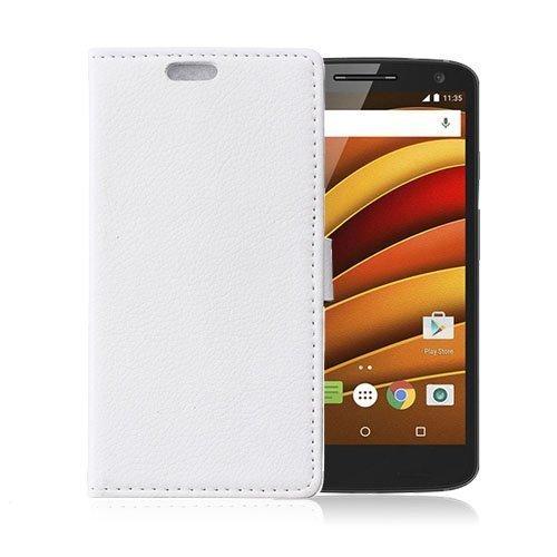 Mankell Motorola Moto X Force Nahkakotelo Lompakko Standillä Valkoinen