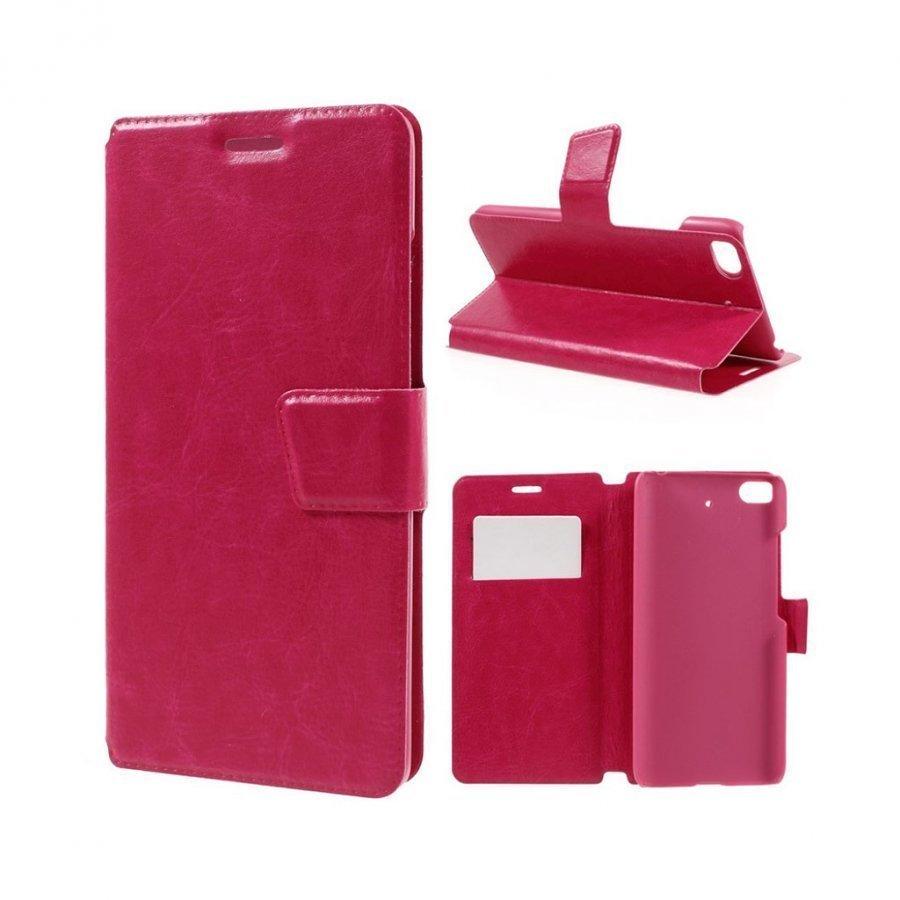Mankell Xiaomi Mi 5s Nahkakotelo Läpällä Ja Standillä Kuuma Pinkki