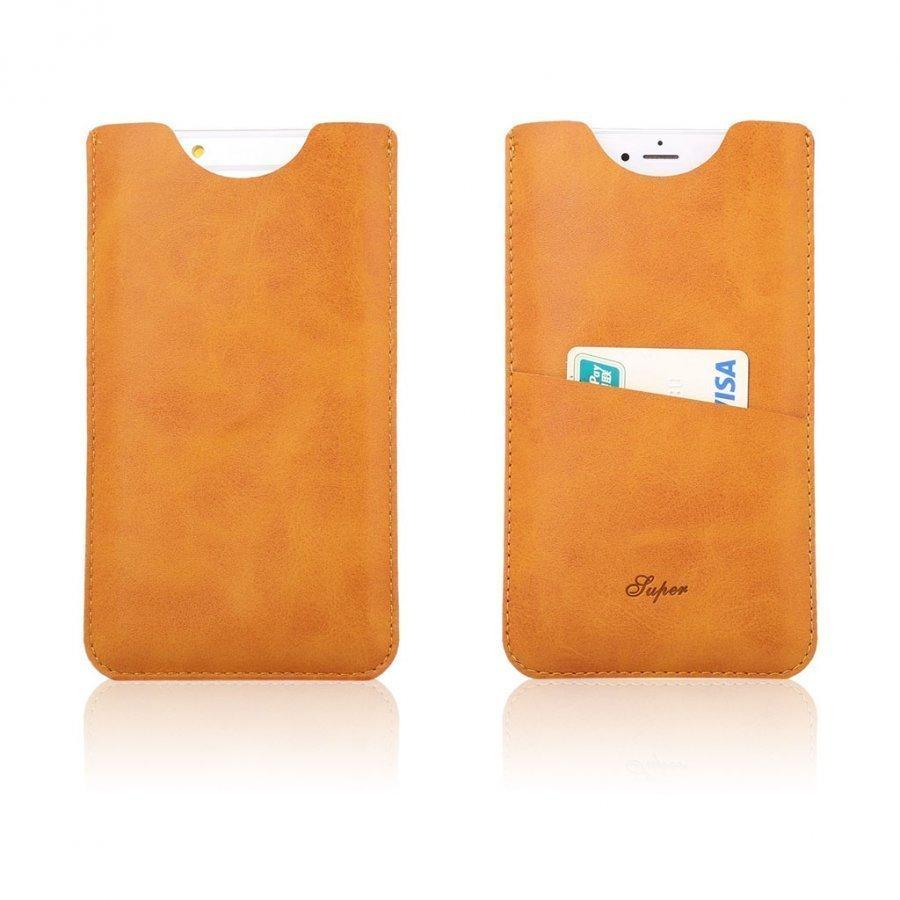Matta Nahkapussi Korttitaskuilla Älypuhelimille Oranssi