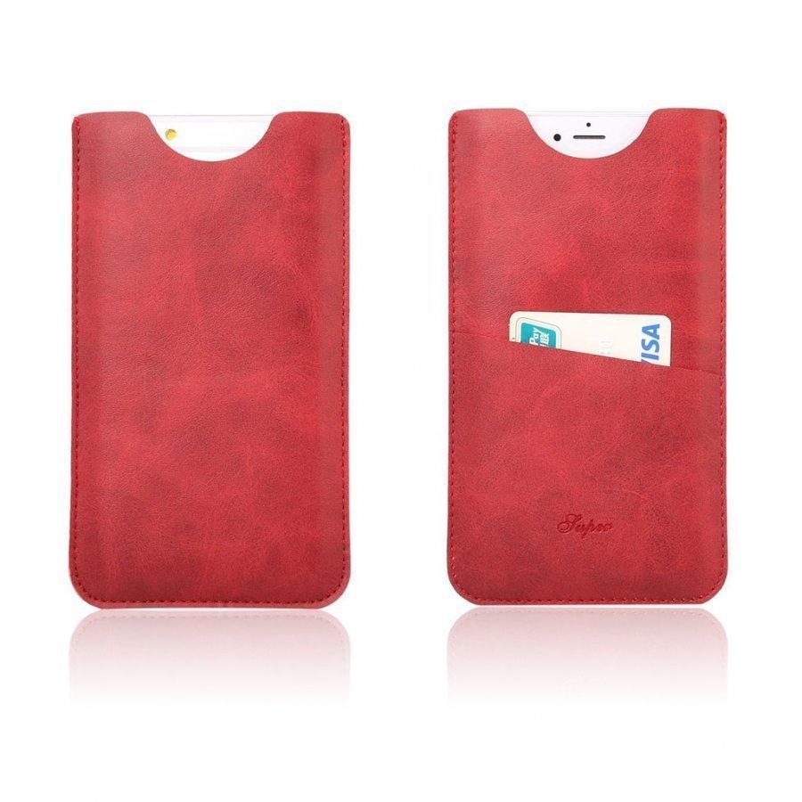 Matta Nahkapussi Korttitaskuilla Älypuhelimille Punainen