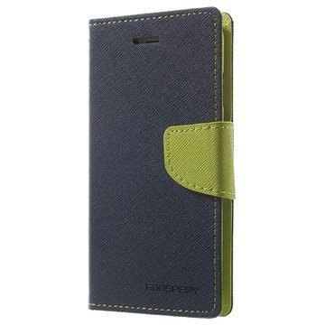 Mercury Goospery Fancy Diary lompakkokotelo iPhone 7 Tummansininen / Vihreä