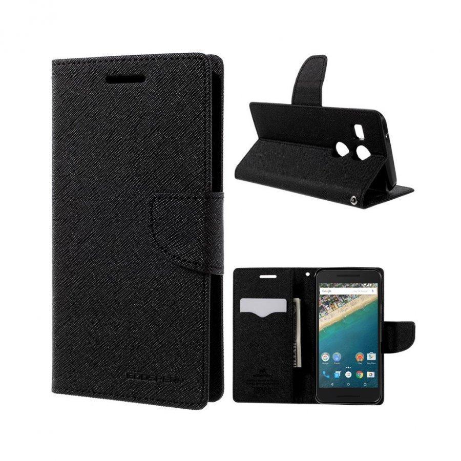 Mercury Goospery Google Nexus 5x Hieno Nahkakotelo Musta