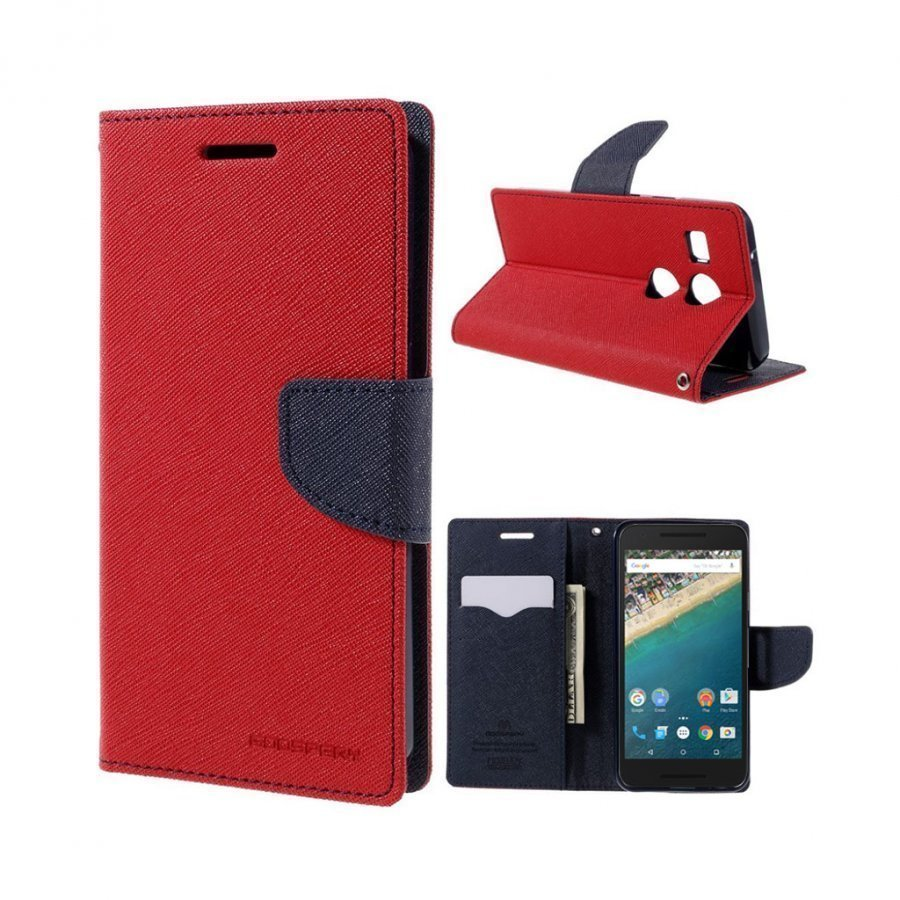 Mercury Goospery Google Nexus 5x Hieno Nahkakotelo Punainen