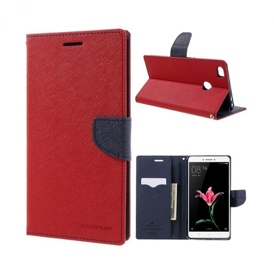 Mercury Goospery Xiaomi Mi Max Nahkakotelo Läpällä Punainen