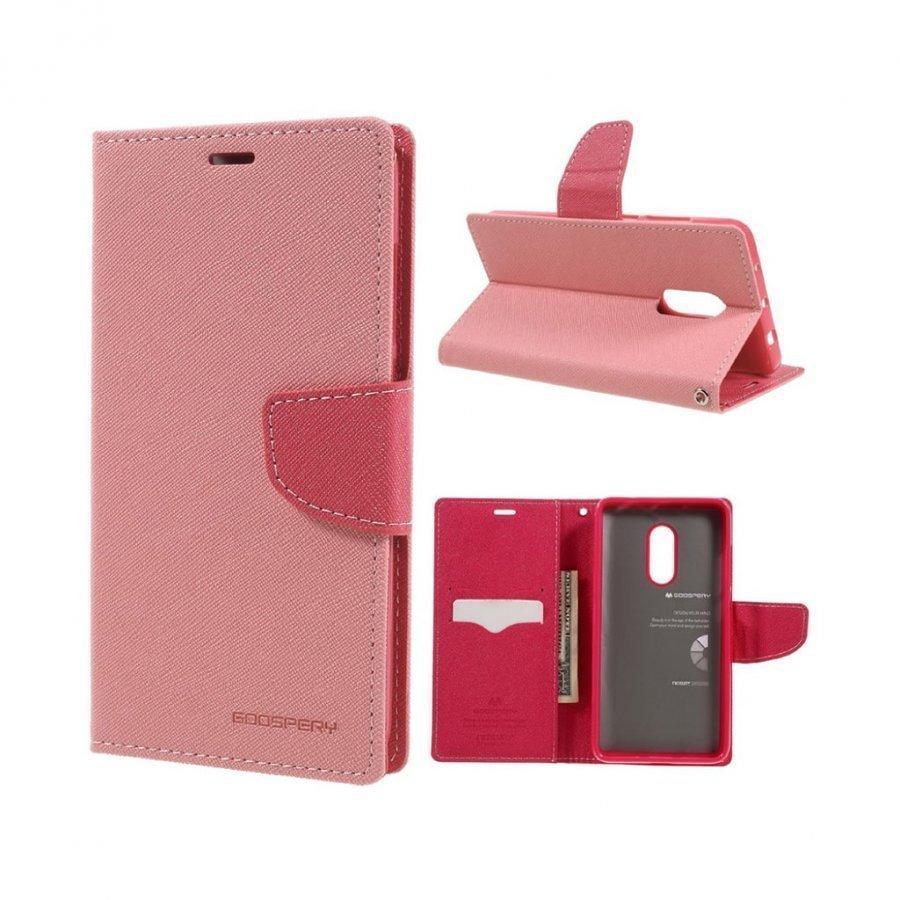 Mercury Goospery Xiaomi Redmi Note 4 Nahkakotelo Läpällä Pinkki
