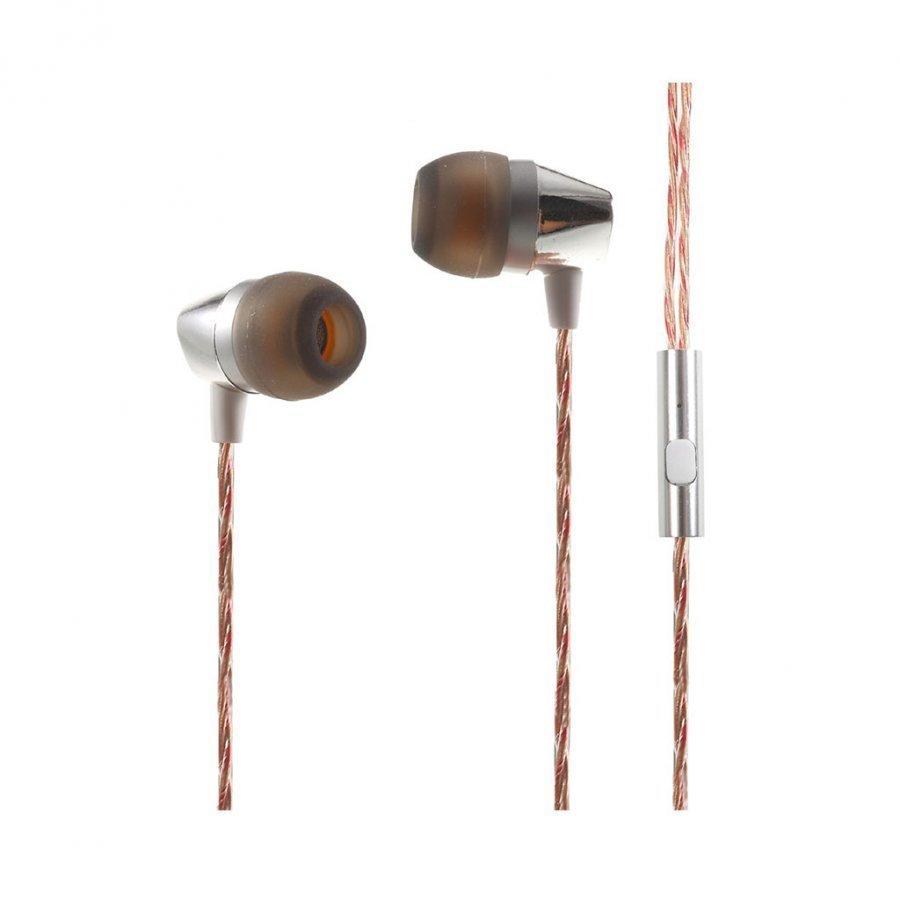 Mgall L8 3.5mm Stereo Korvanappikuuloke Mikrofonilla Älypuhelimille Hopea