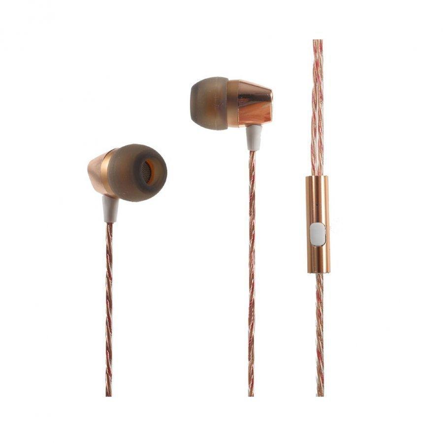 Mgall L8 3.5mm Stereo Korvanappikuuloke Mikrofonilla Älypuhelimille Kulta