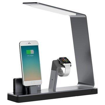 MiTagg NuDock Lamppu Lataustelakka Apple Watch iPhone Avaruusharmaa
