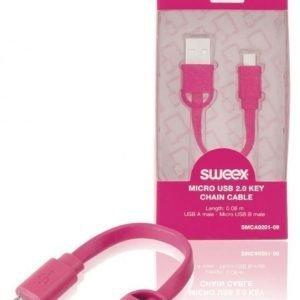 Micro USB 2.0 -avaimenperäkaapeli USB A -urosliitin Micro USB B -urosliitin 0 10 m vaaleanpunainen