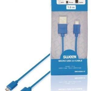 Micro USB 2.0 -kaapeli USB A -urosliitin Micro USB B -urosliitin 1 00 m sininen