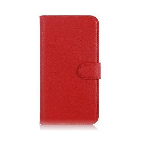 Microsoft Lumia 650 Litsi Pintainen Nahkakotelo Lompakko Punainen