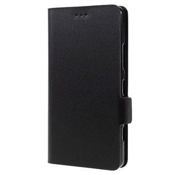 Microsoft Lumia 950 Doormoon Nahkainen Lompakkokotelo Musta