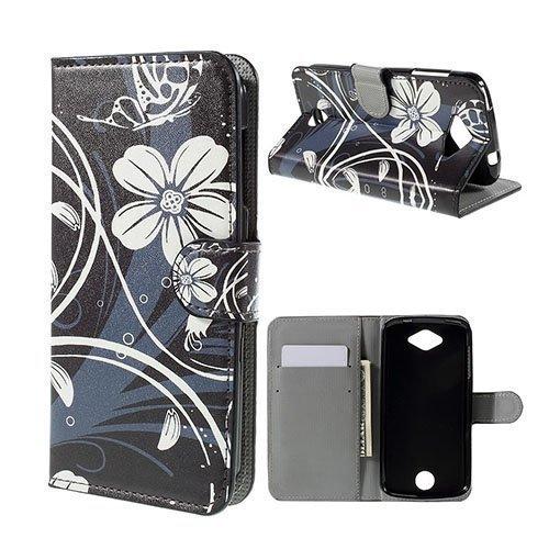 Moberg Acer Liquid Z530 Nahkakotelo Korttitaskuilla Valkoisia Kukkia